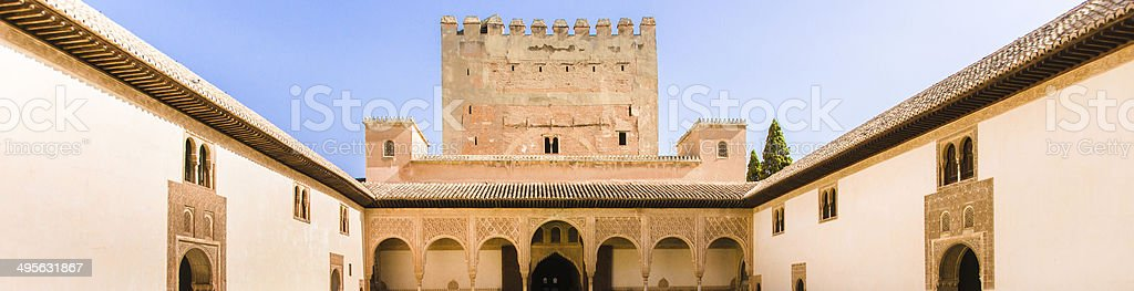 Courtyard in the Palacio Nazaries stock photo