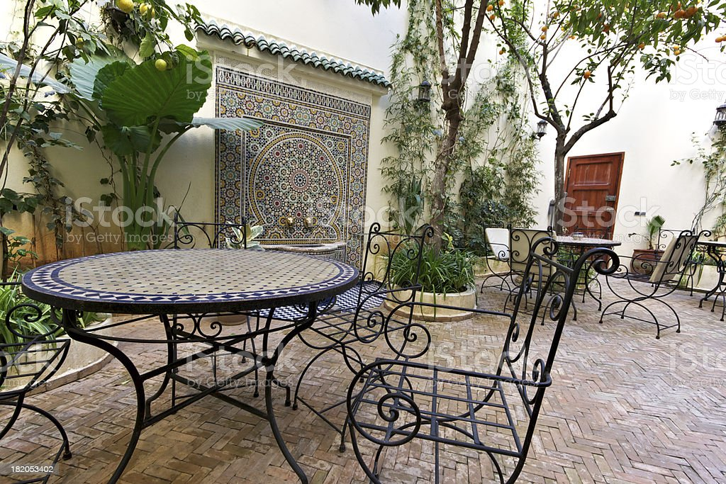 Courtyard Inside Old Riad in Fez, Morocco stock photo