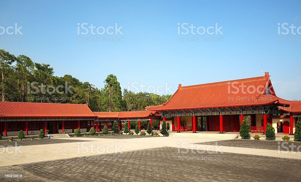 Courtyard of a Chinese Temple royalty-free stock photo