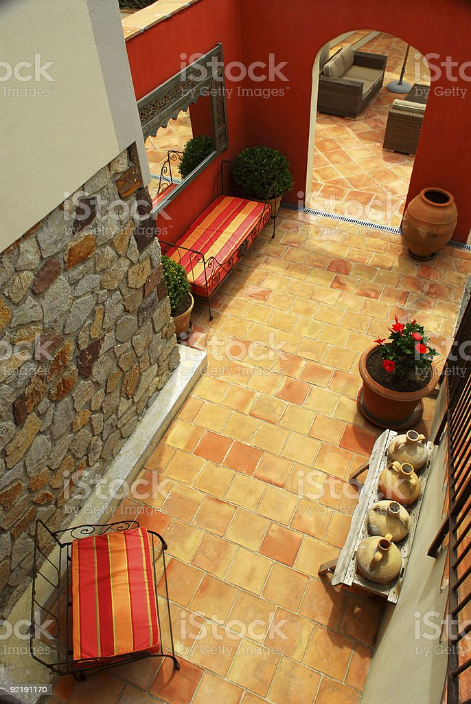 Courtyard of a villa royalty-free stock photo