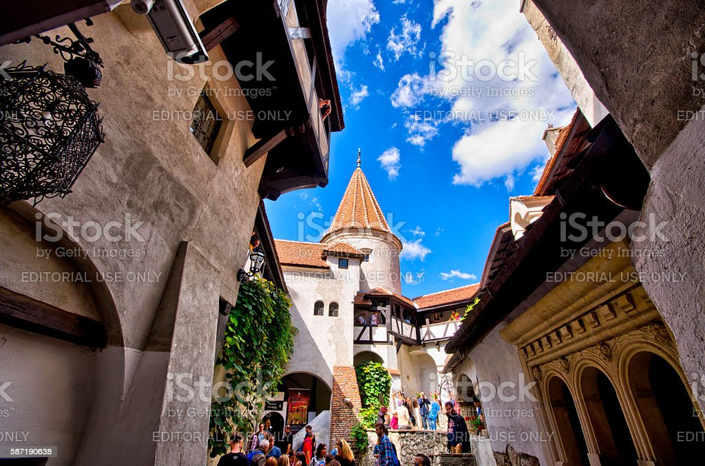 Courtyard of 'Dracula' castle stock photo