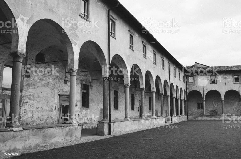 Courtyard of ex Monastery of Sant'Agostino. Now Univercity of Bergamo. stock photo