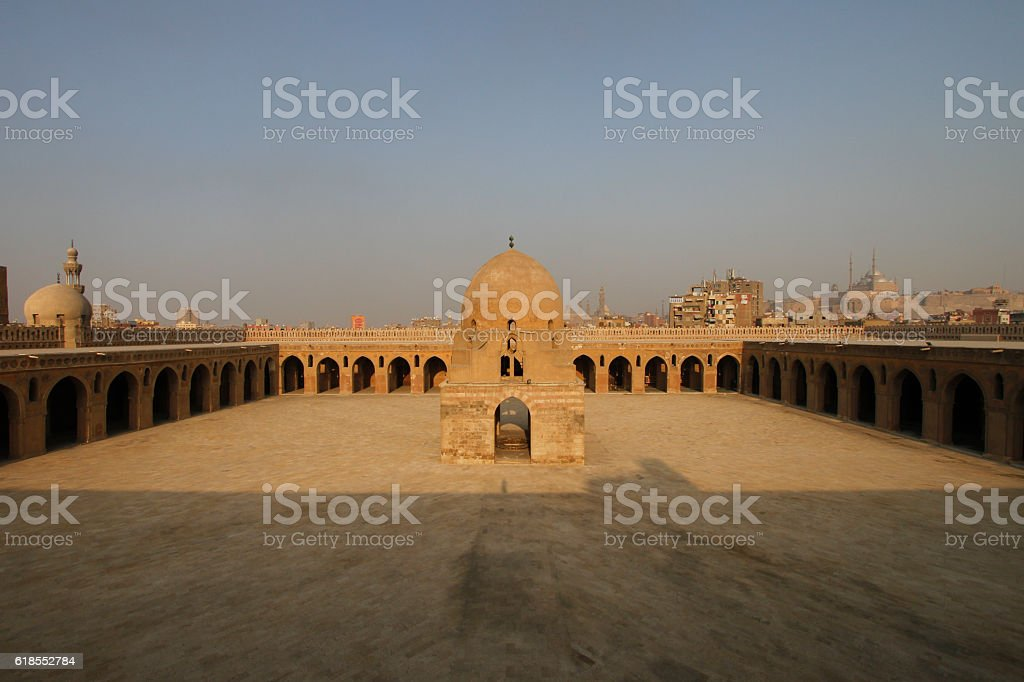 Courtyard of Ibn Tulun Mosque in Cairo stock photo
