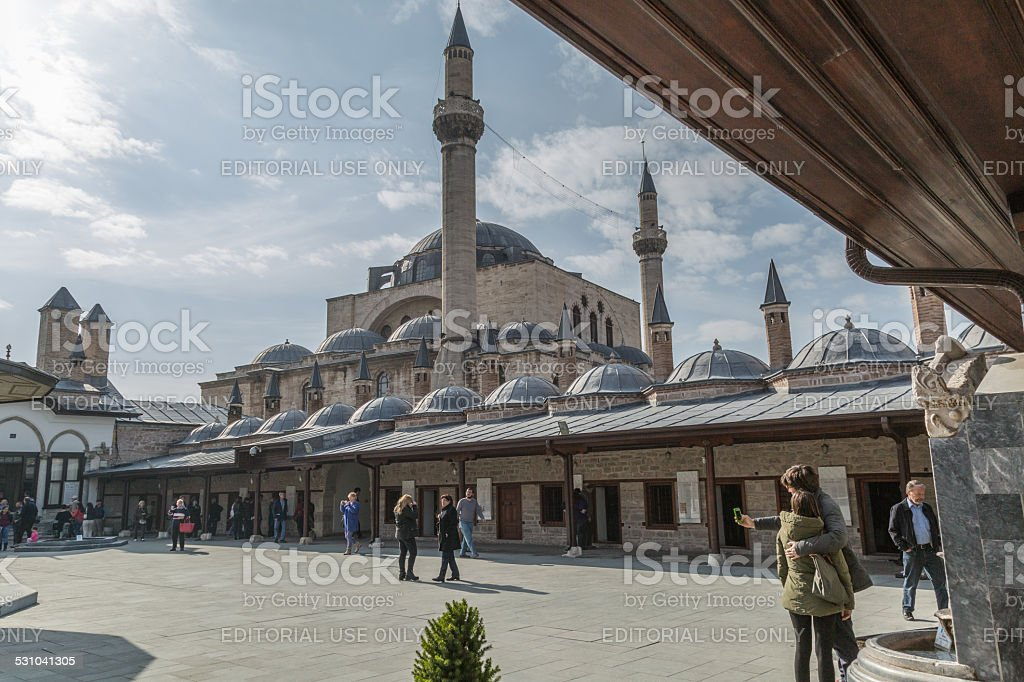 courtyard of Mevlana resting place stock photo