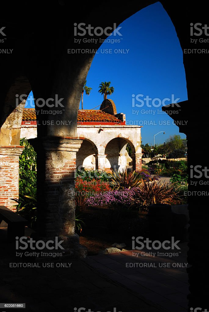 Courtyard of Mission San Juan Capistrano, stock photo