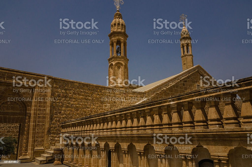 Courtyard of  Mor Gabriel Monastery stock photo