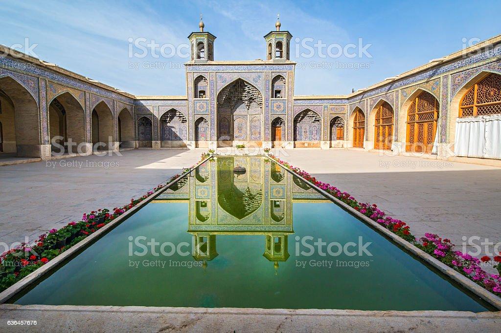 Courtyard of Nasir ol Molk Mosque, Shiraz stock photo