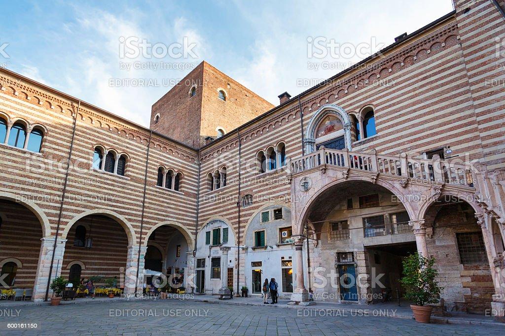 Courtyard of Palace Mercato Vecchio in Verona, Italy stock photo