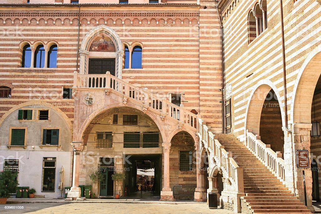 Courtyard of Palazzo della Ragione, Piazza dei Signori, Verona, Italy. stock photo