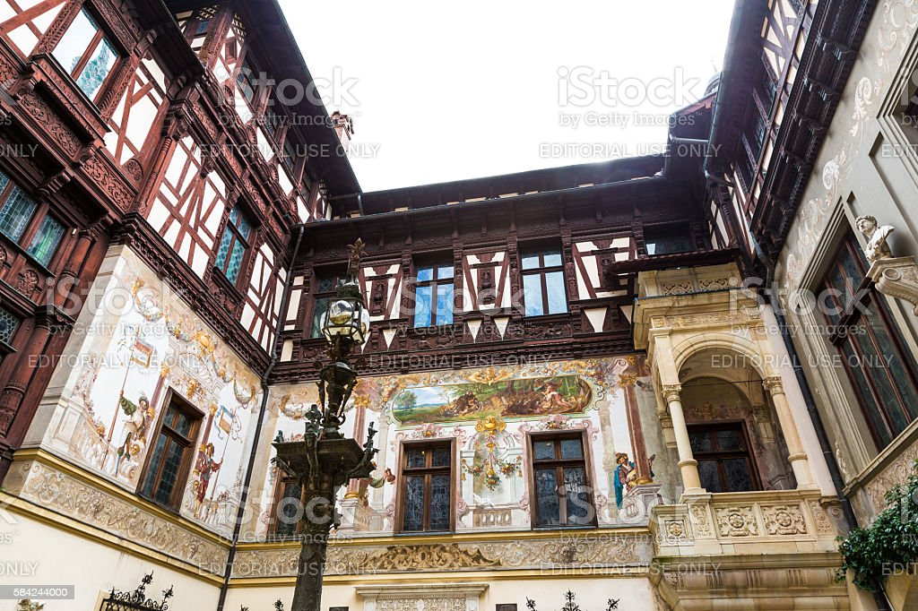 Courtyard of Peles Castle, Sinaia, Transylvania, Romania stock photo