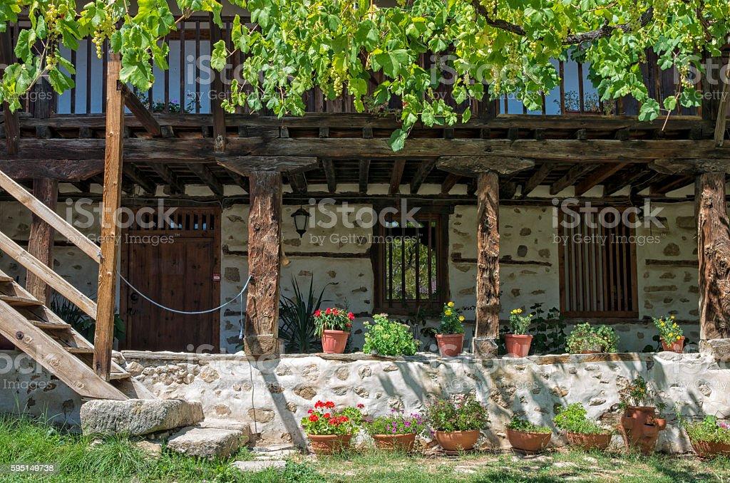 Courtyard of Rozhen Monastery, Bulgaria royalty-free stock photo