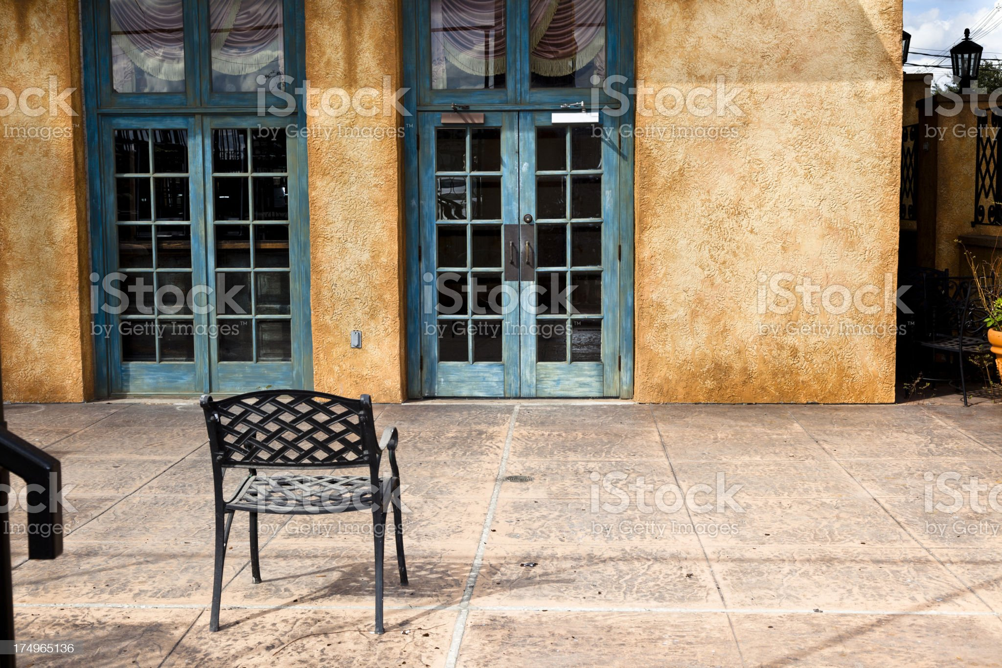Courtyard of Spanish style home in urban USA. royalty-free stock photo