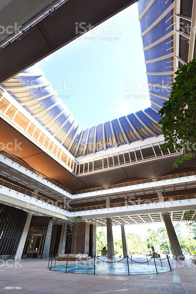 Courtyard of State Capitol Building, Hawaii in Honolulu USA stock photo