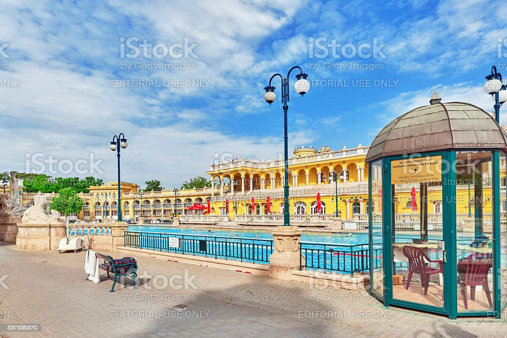 Courtyard of Szechenyi Baths, Hungarian thermal bath. stock photo