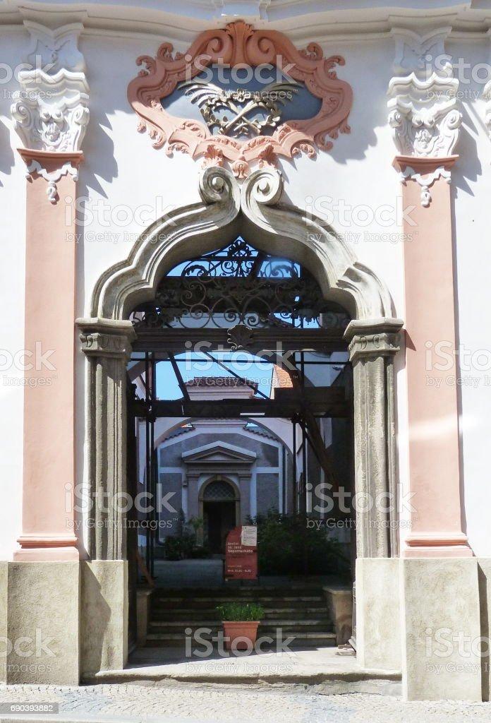 Courtyard of the church of Saint John of Nepomuk, Kutna Hora stock photo