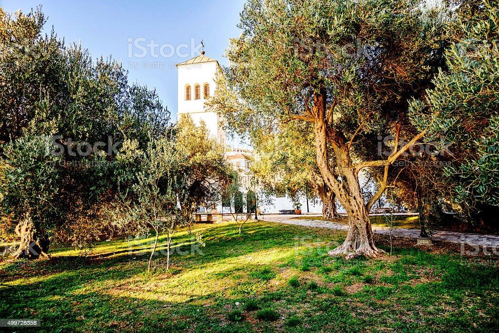 Courtyard of the Church of St. Nikola (Sveti Nikola) stock photo