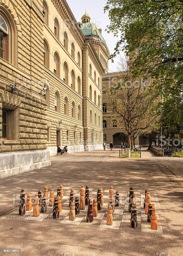 Courtyard of the Federal Palace of Switzerland stock photo