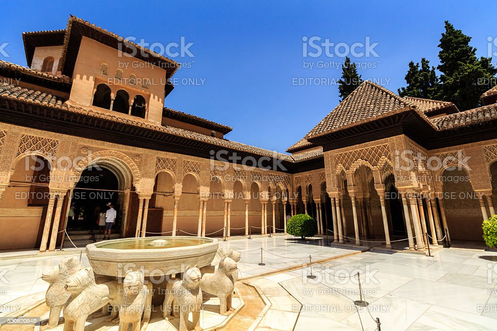 Courtyard of the Myrtles (Patio de los Arrayanes), La Alhambra stock photo