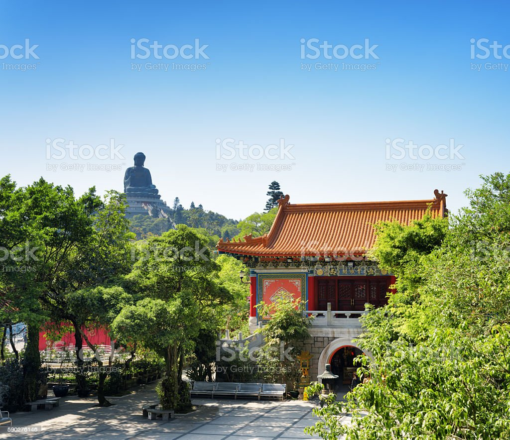 Courtyard of the Po Lin Monastery and Tian Tan Buddha stock photo