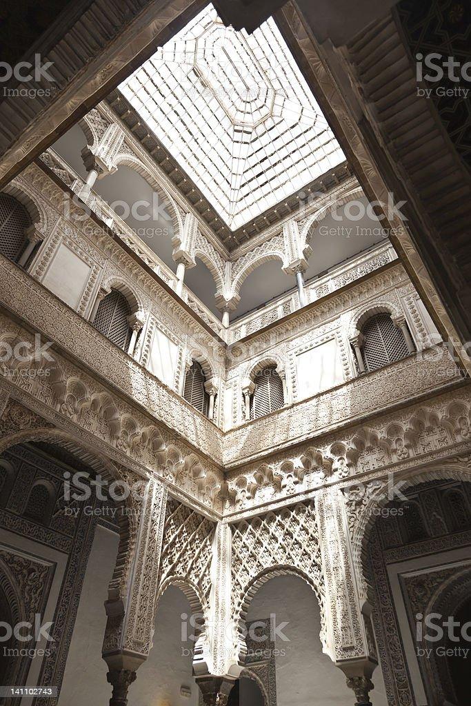 Courtyard of the Reales Alcazares, Sevilla royalty-free stock photo