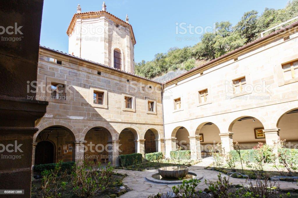 Courtyard of the Santo Toribio de Liebana monastery, Potes, Cantabria, Spain stock photo