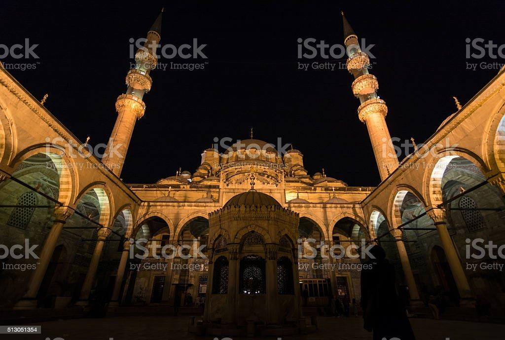 Courtyard of Yeni Cami Mosque stock photo