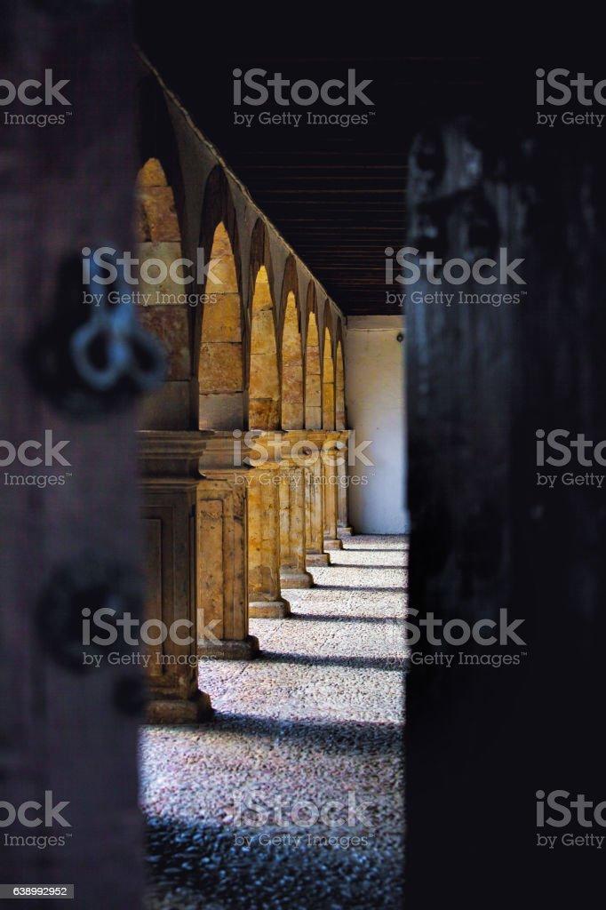 Courtyard, open door between, Salamanca, Spain stock photo