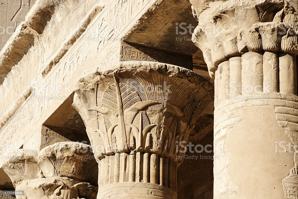 Courtyard pillars, Edfu temple stock photo