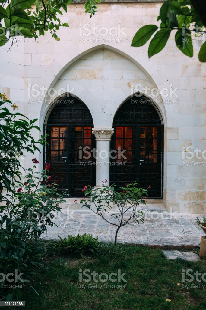 Courtyard view of Christ Church stock photo