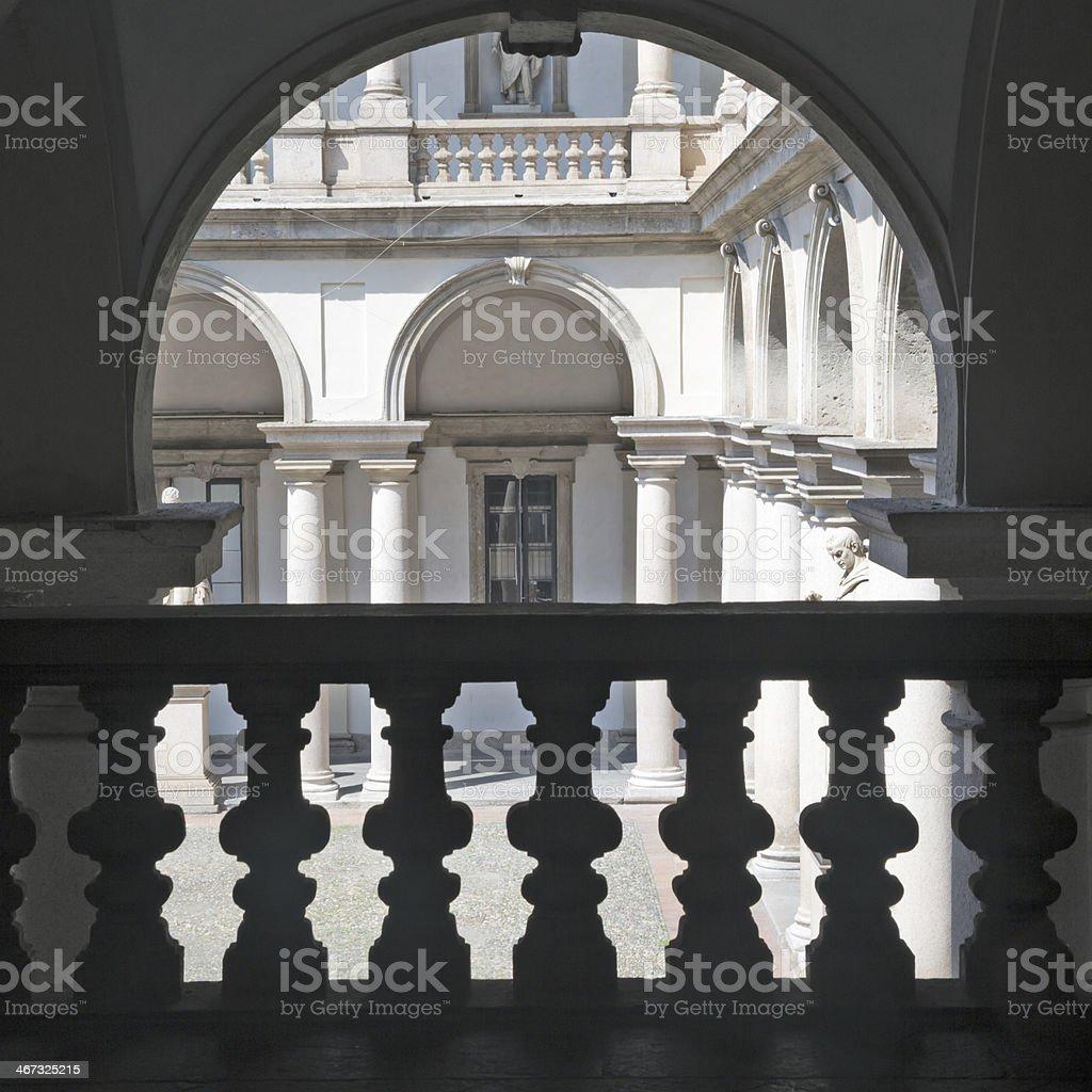 Courtyard view of Pinacoteca di Brera, Milan, Italy stock photo