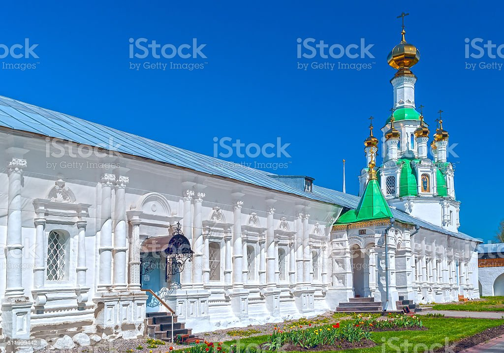 Courtyard white orthodox monastery in a sunny summer day stock photo