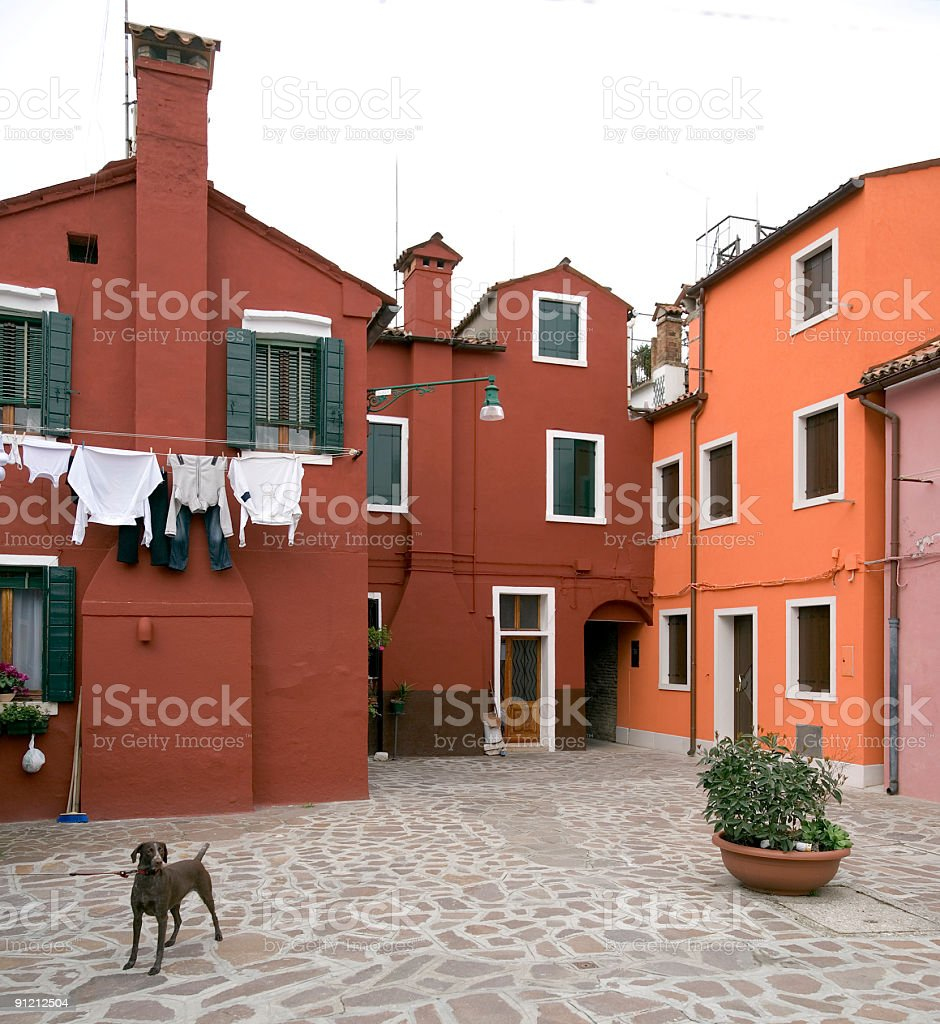 Courtyard with clothesline in Burano (XL) royalty-free stock photo