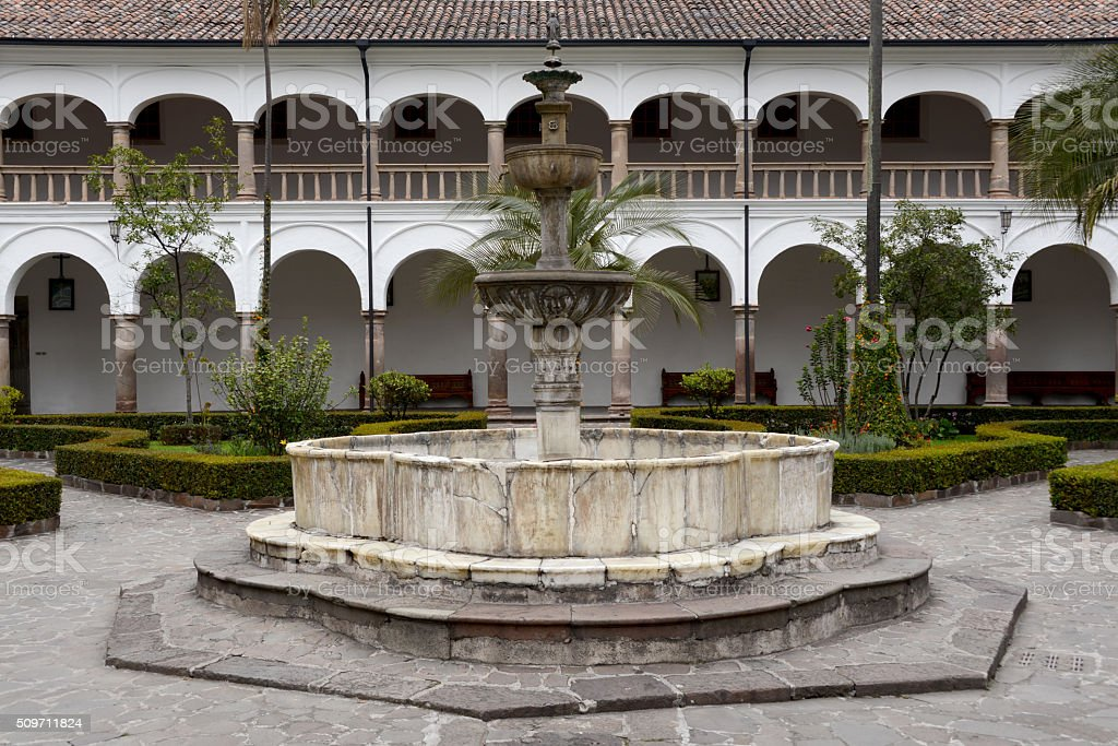 Courtyard with fountain stock photo