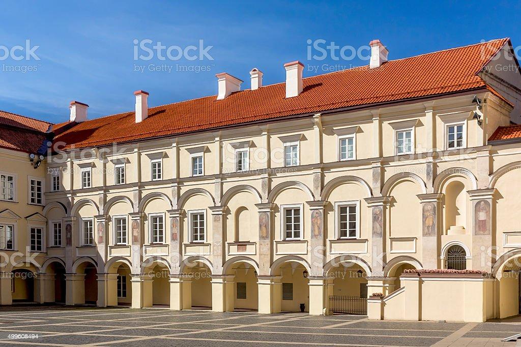 Courtyards of Vilnius University, Lithuania stock photo