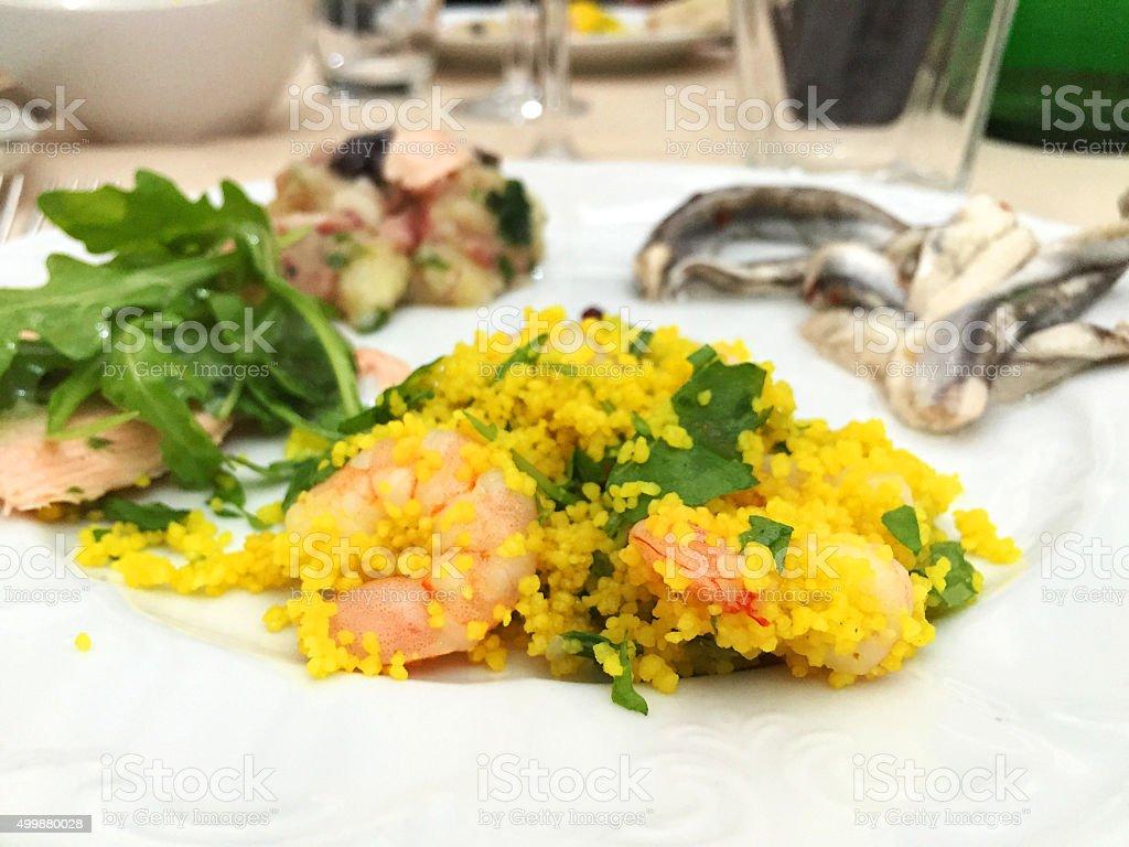 Cous Cous with shrimps stock photo