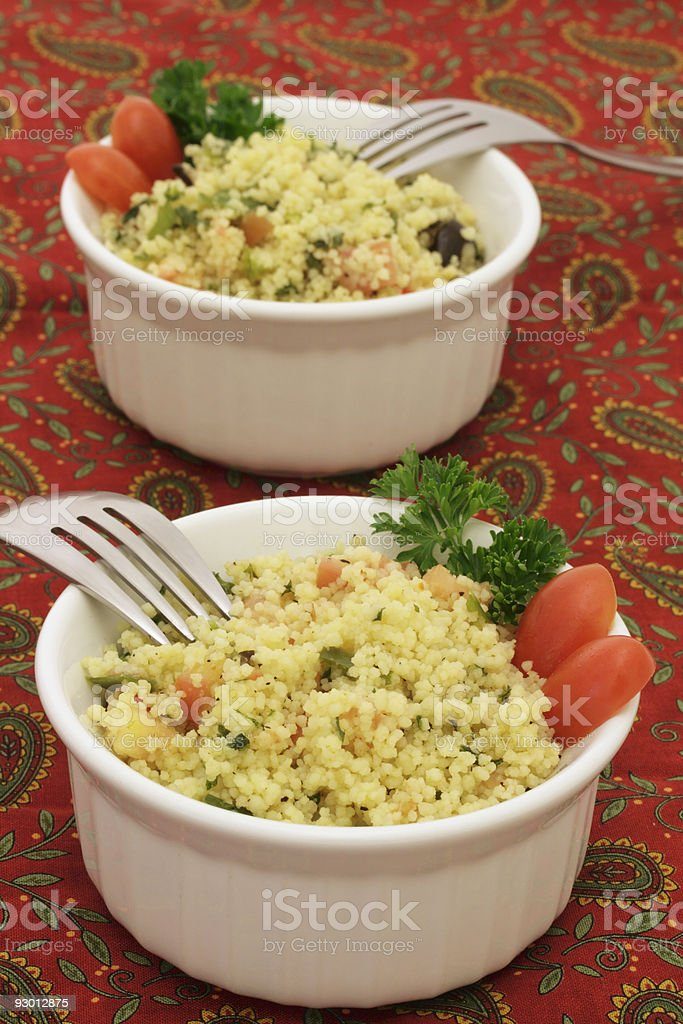 Couscous salad for two stock photo