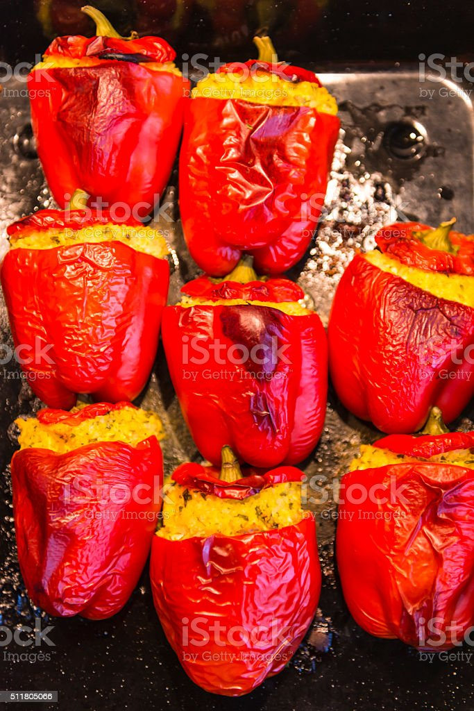 Cous-cous stuffed peppers stock photo