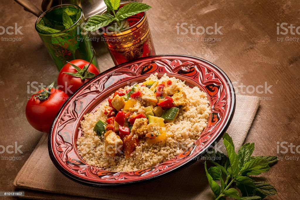 couscous with fish and vegetables stock photo