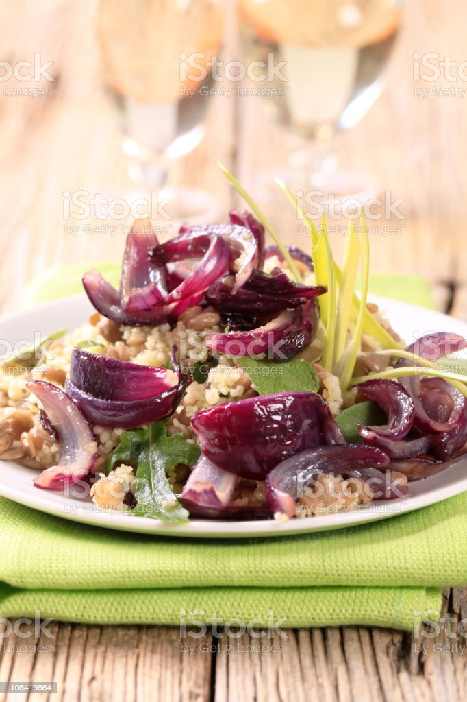 Couscous with lentils and Spanish onion stock photo