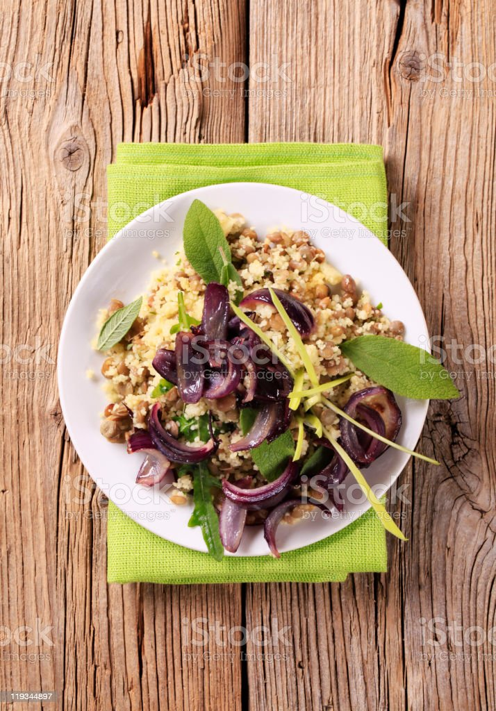 Couscous with lentils and Spanish onion royalty-free stock photo