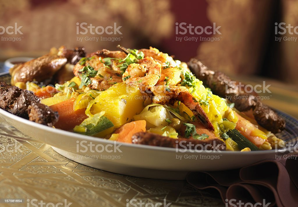 Couscous with shrimp royalty-free stock photo