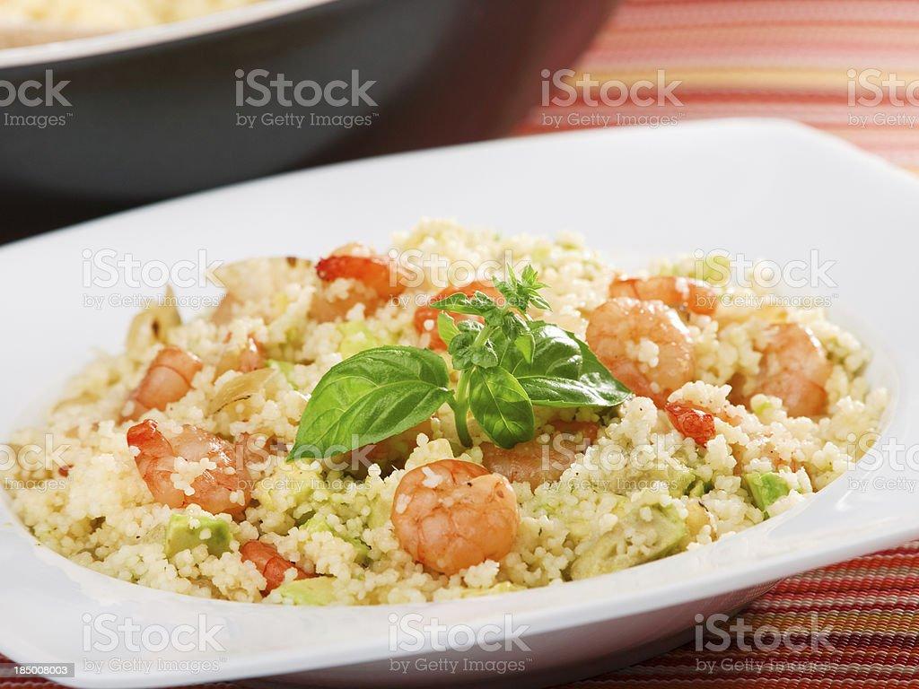 Couscous with shrimps stock photo