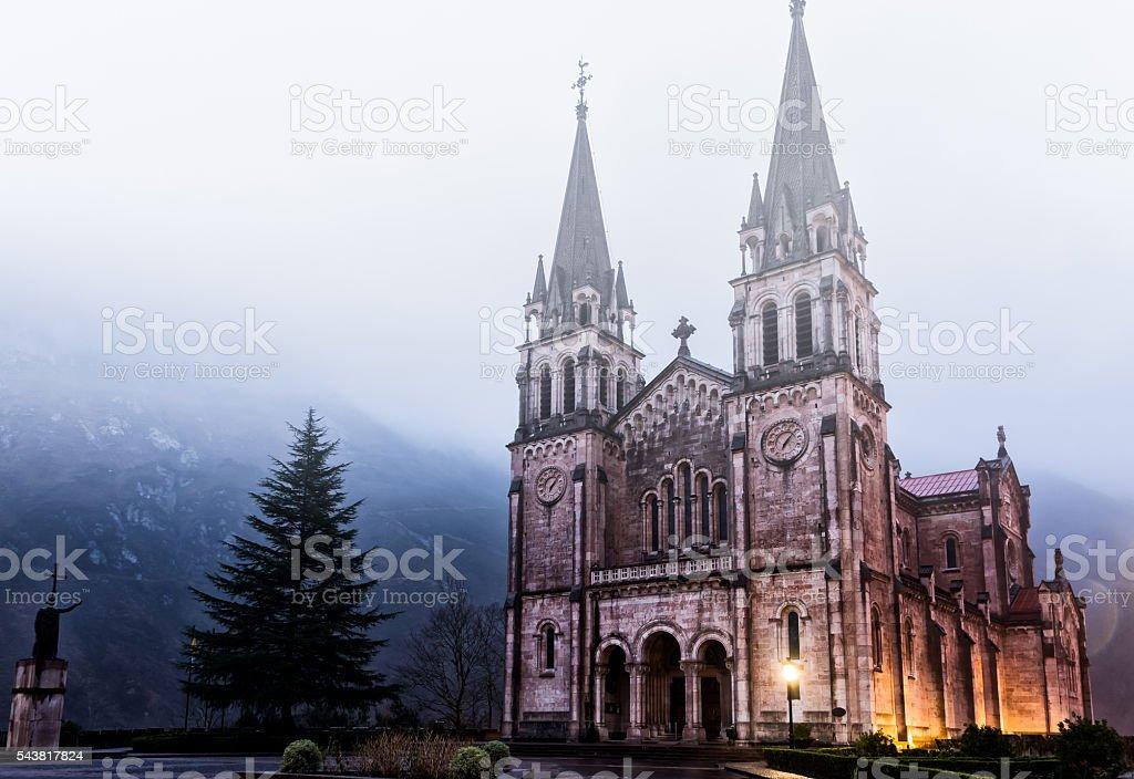 Covadonga sanctuary with fog stock photo