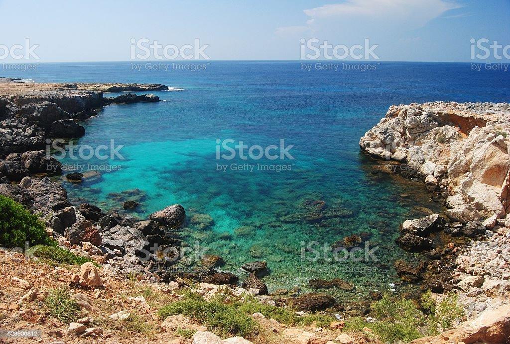 Cove along the Karpas peninsula in Cyprus. stock photo