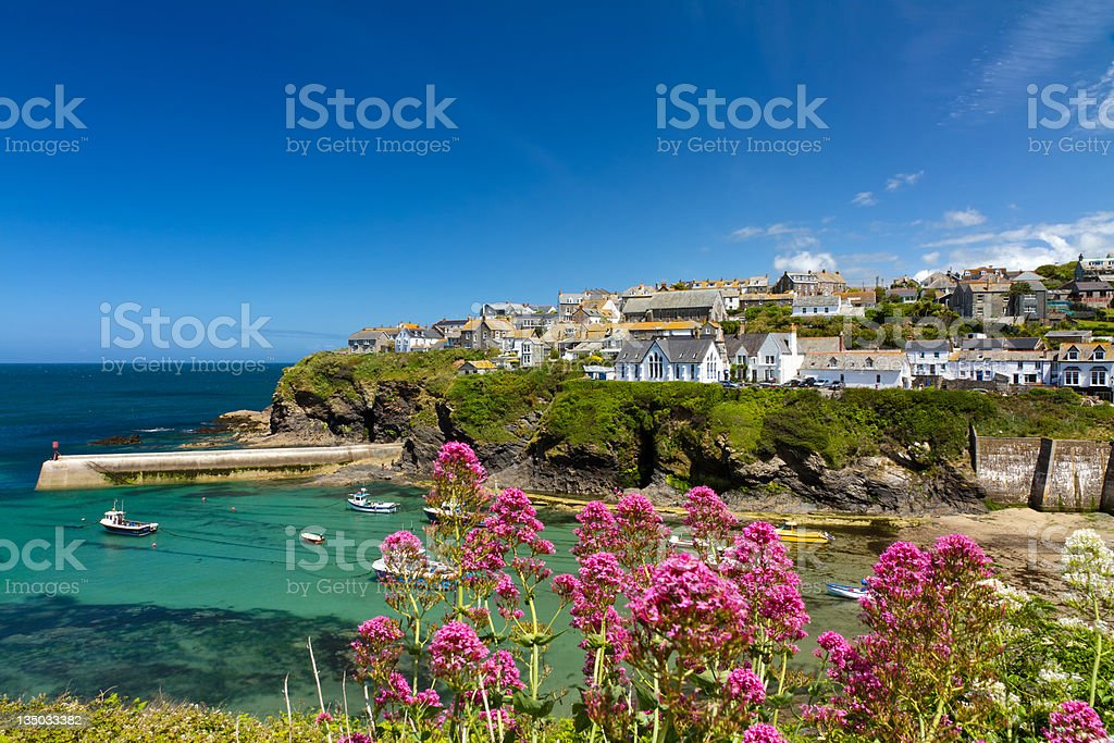 Cove and harbour of Port Isaac, Cornwall stock photo
