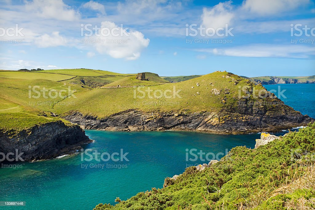 Cove near Port Quin with deep blue sea, Cornwall, UK stock photo