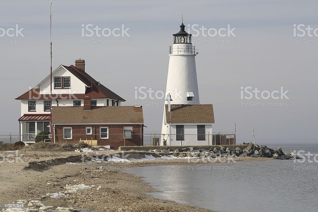 Cove Point Lighthouse and Keeper's Cottage stock photo