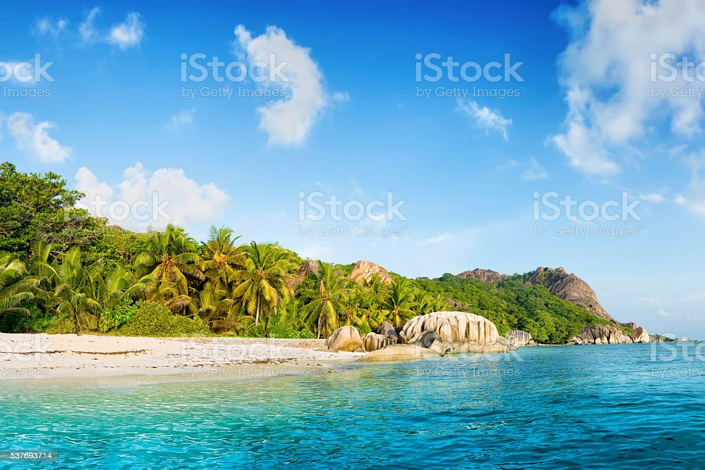 anse source d'argent beach on la digue islan royalty-free stock photo
