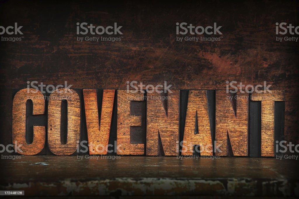 Covenant in Letterpress Letters stock photo
