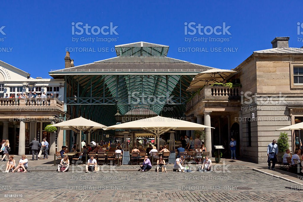 Covent Garden market and Vivid Blue Sky, London, England, UK. stock photo